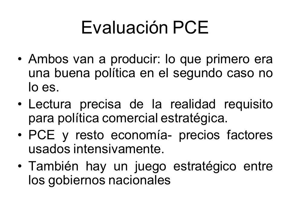 Evaluación PCE Ambos van a producir: lo que primero era una buena política en el segundo caso no lo es.