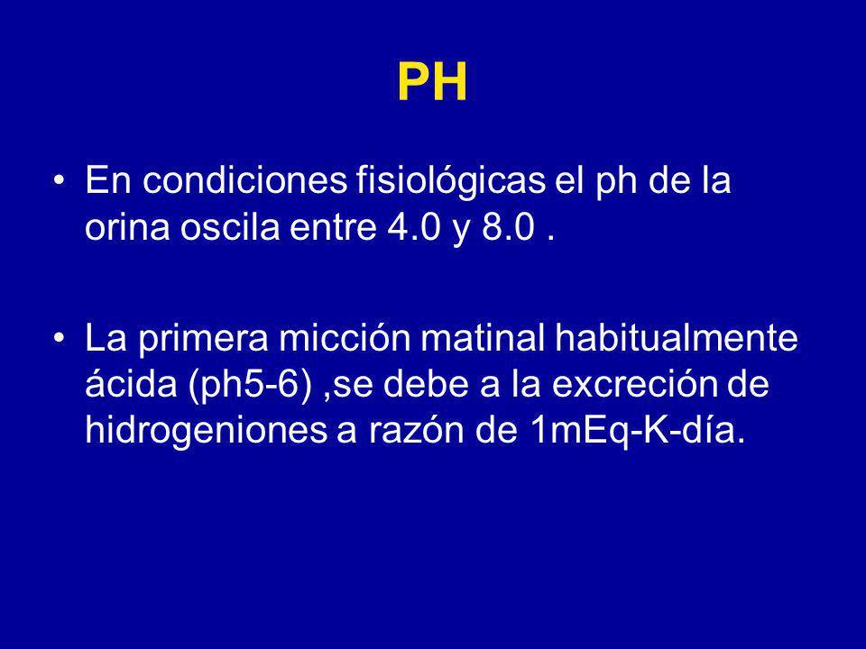 PH En condiciones fisiológicas el ph de la orina oscila entre 4.0 y 8.0 .