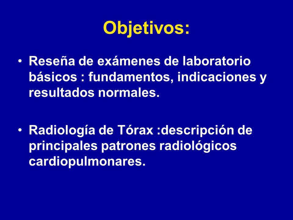 Objetivos: Reseña de exámenes de laboratorio básicos : fundamentos, indicaciones y resultados normales.