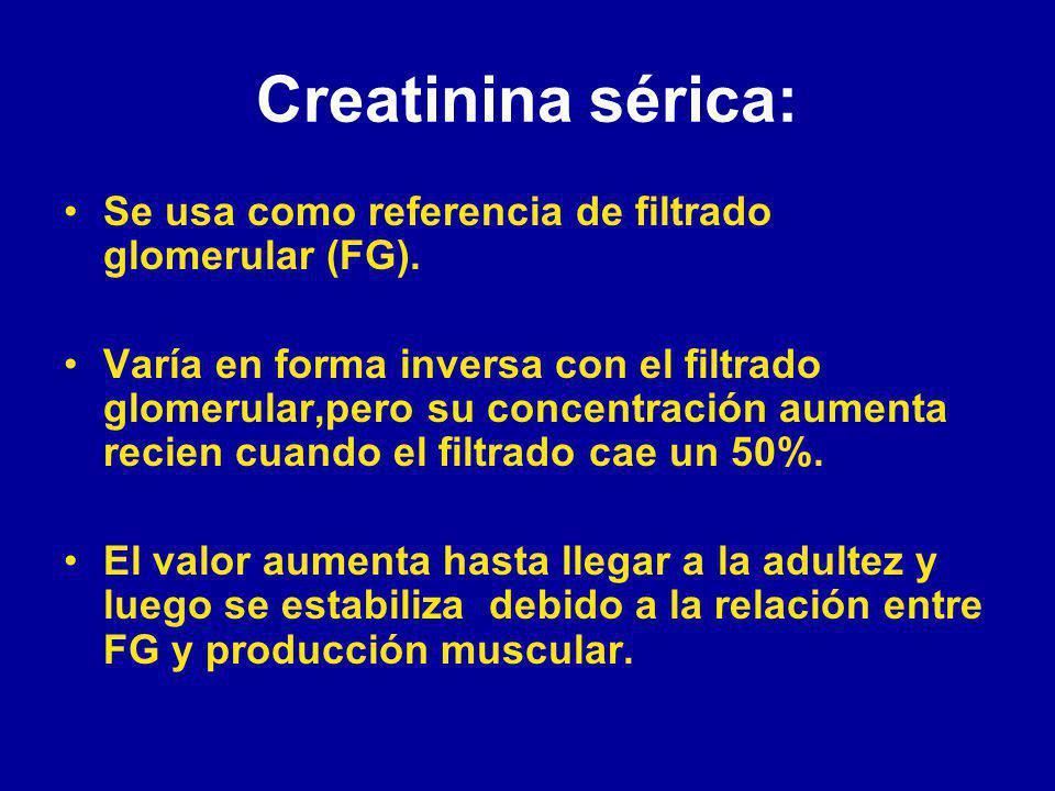 Creatinina sérica: Se usa como referencia de filtrado glomerular (FG).