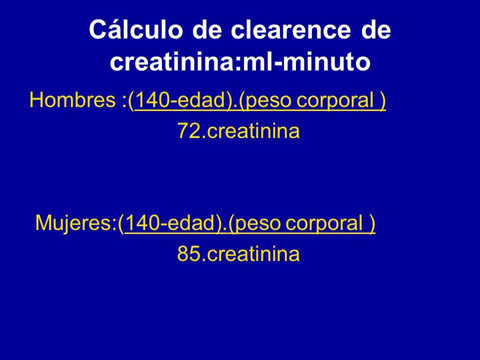 Cálculo de clearence de creatinina:ml-minuto