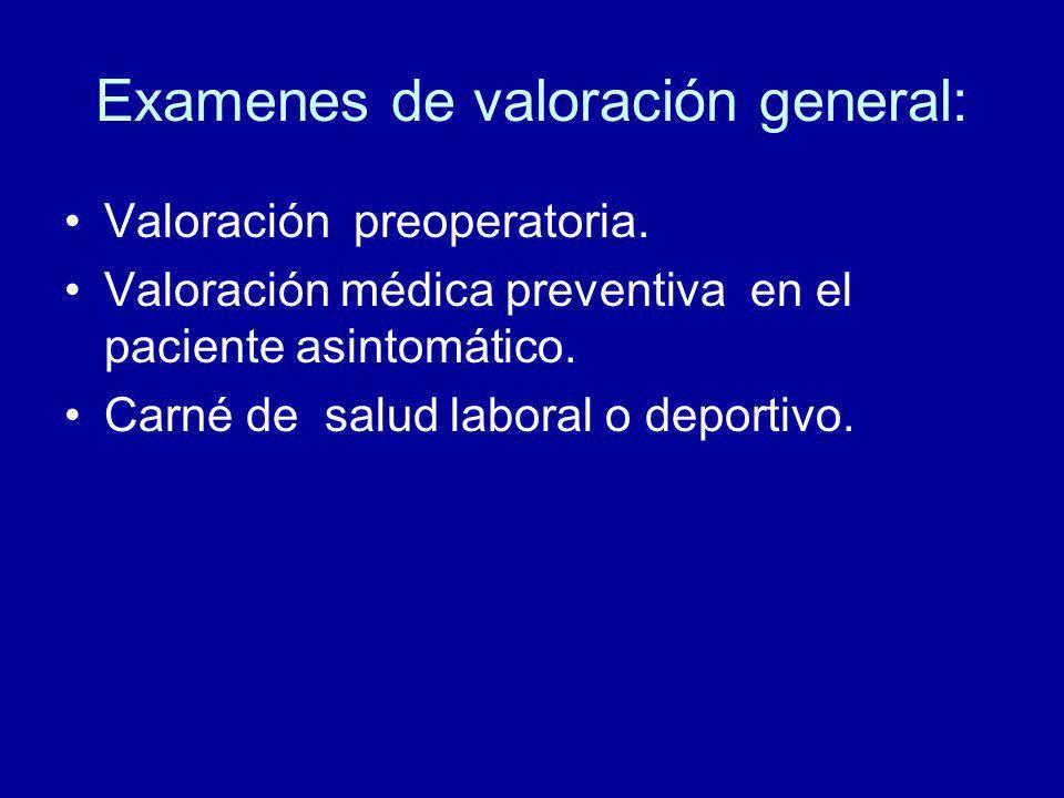 Examenes de valoración general: