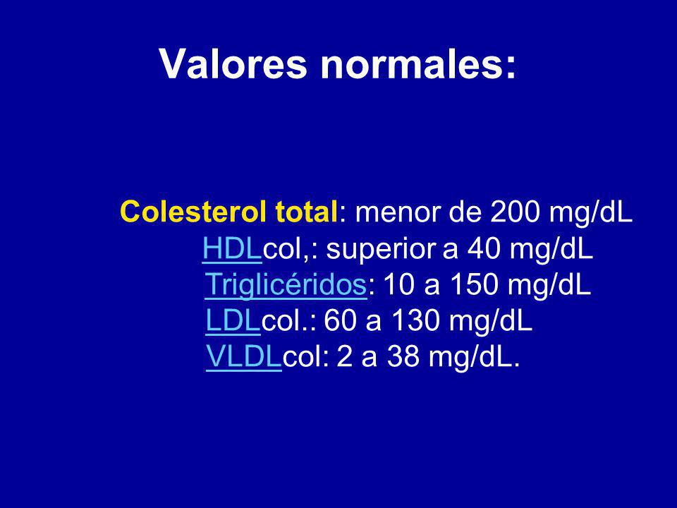 Valores normales: Colesterol total: menor de 200 mg/dL
