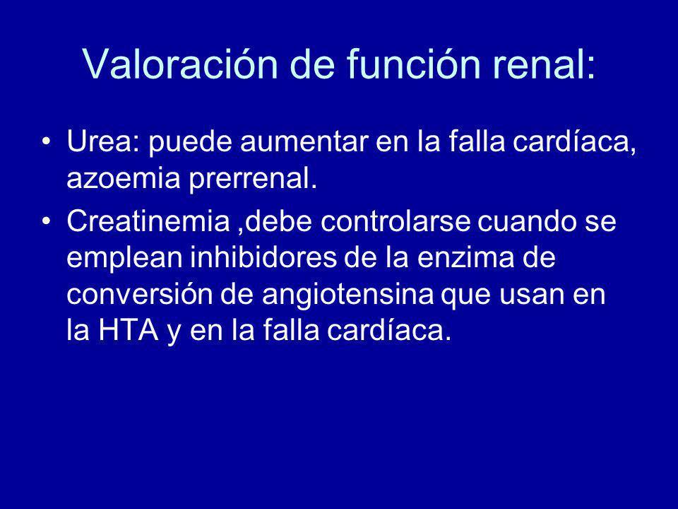 Valoración de función renal: