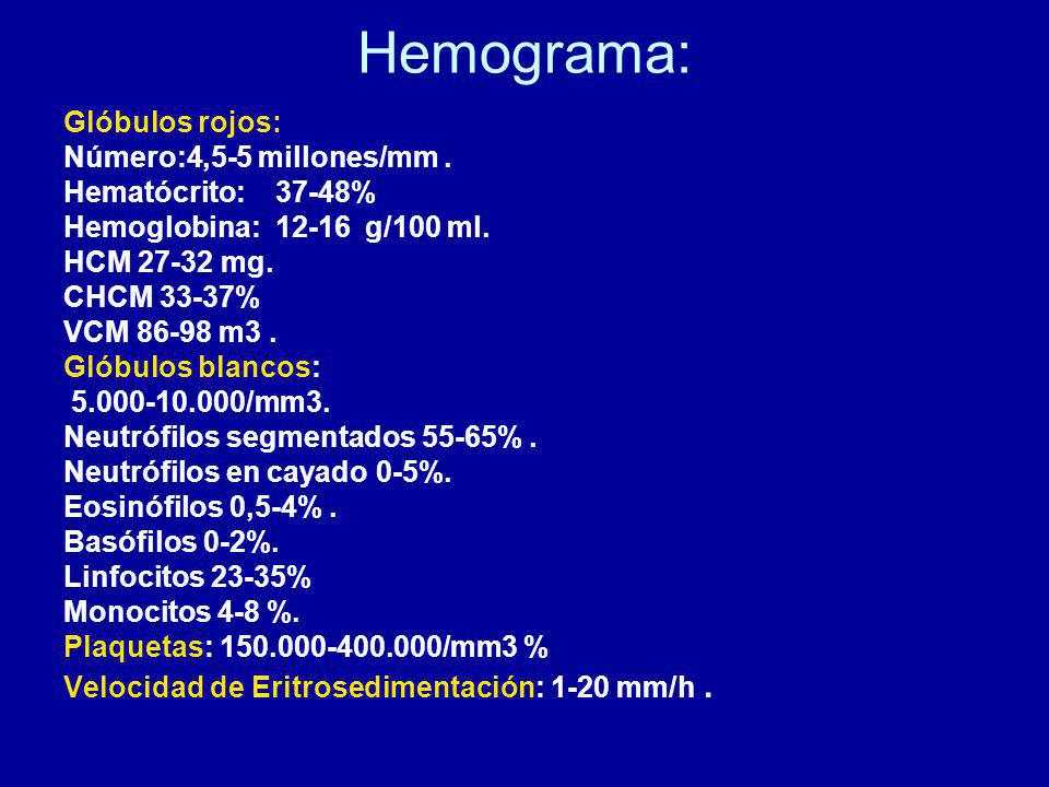 Hemograma: Glóbulos rojos: Número:4,5-5 millones/mm .