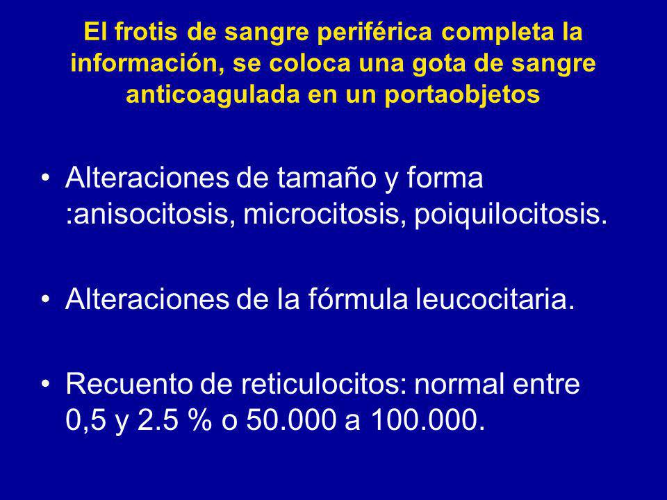 Alteraciones de la fórmula leucocitaria.