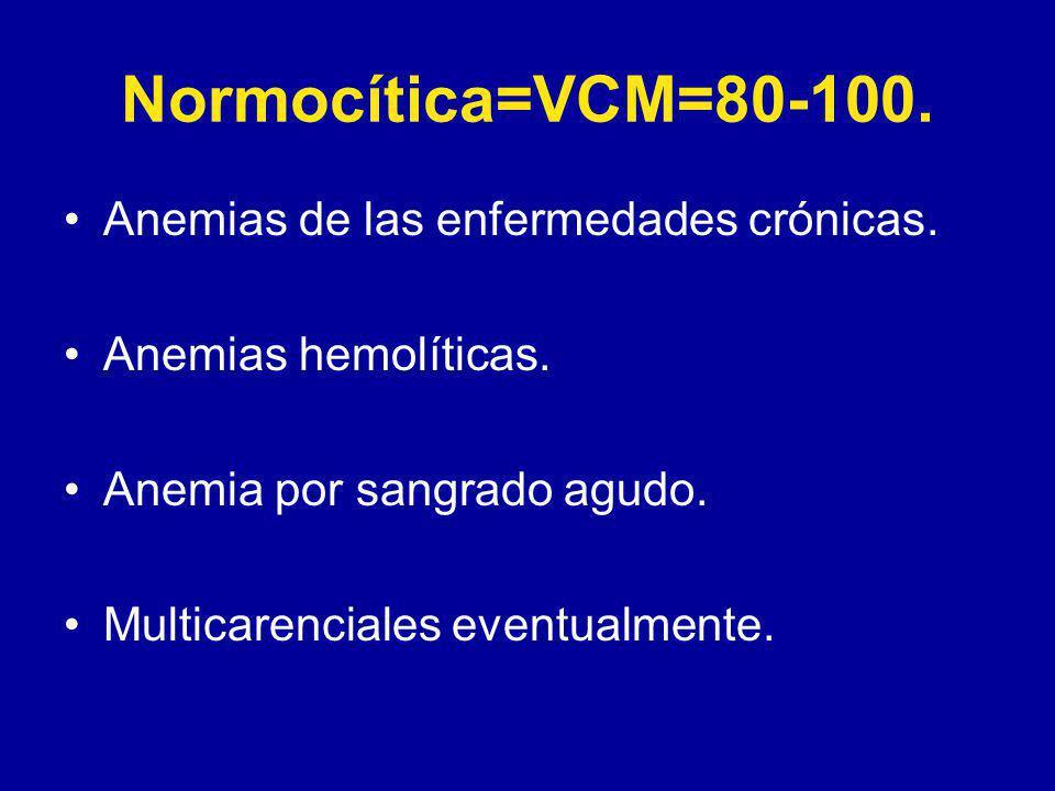 Normocítica=VCM=80-100. Anemias de las enfermedades crónicas.