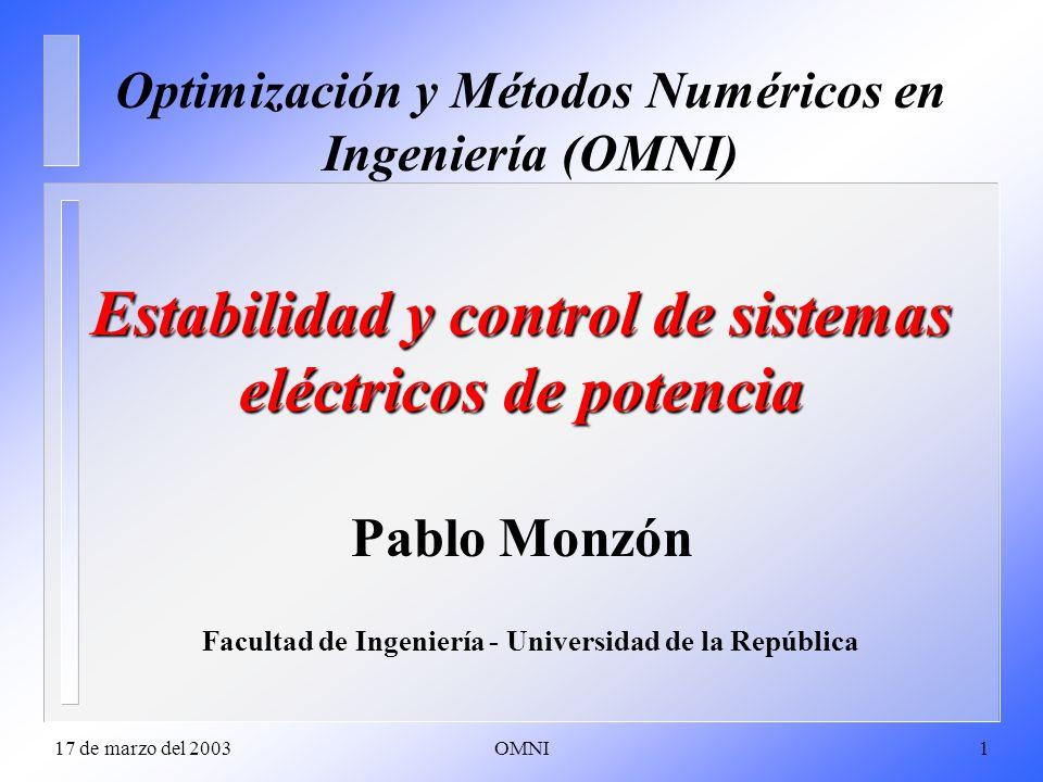 Estabilidad y control de sistemas eléctricos de potencia Pablo Monzón