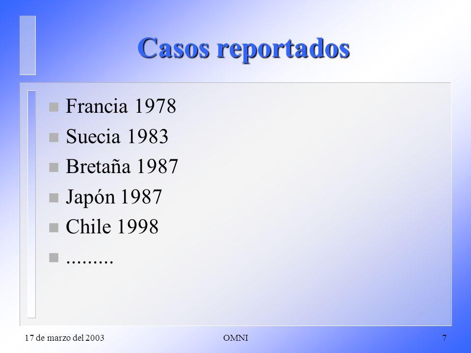 Casos reportados Francia 1978 Suecia 1983 Bretaña 1987 Japón 1987