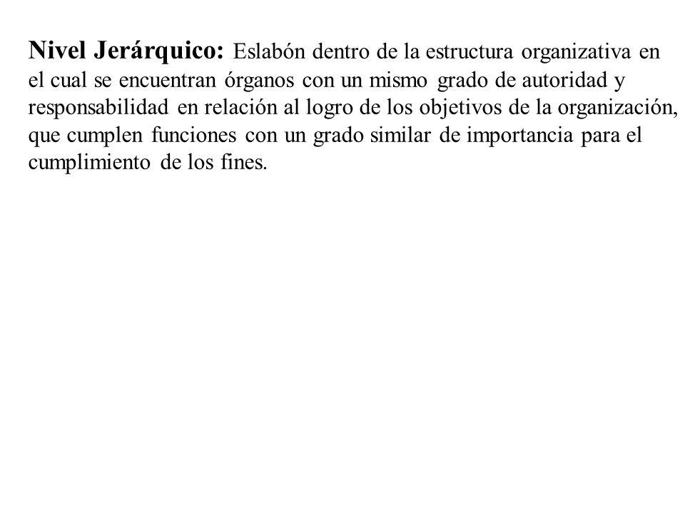 Nivel Jerárquico: Eslabón dentro de la estructura organizativa en