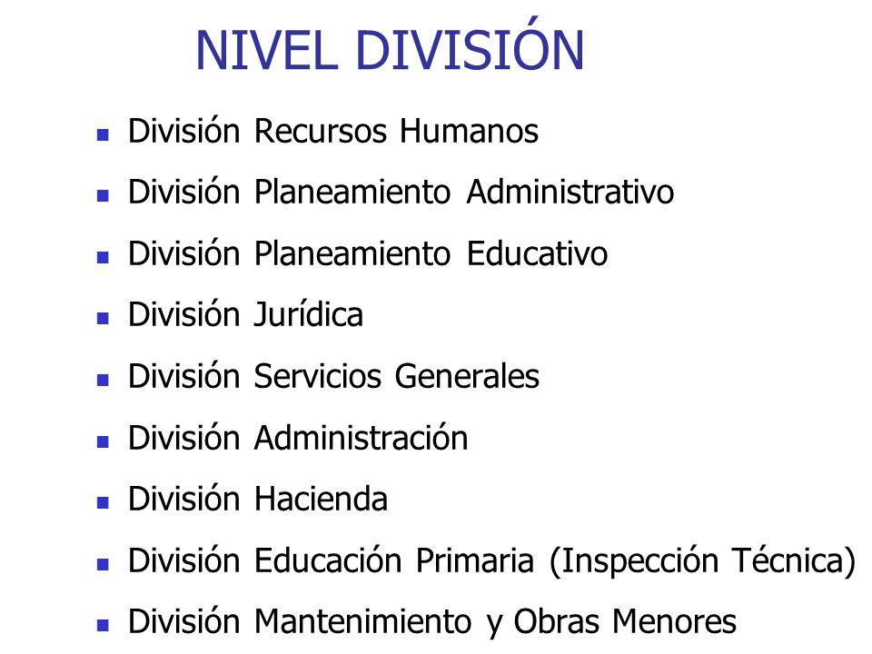 NIVEL DIVISIÓN División Recursos Humanos