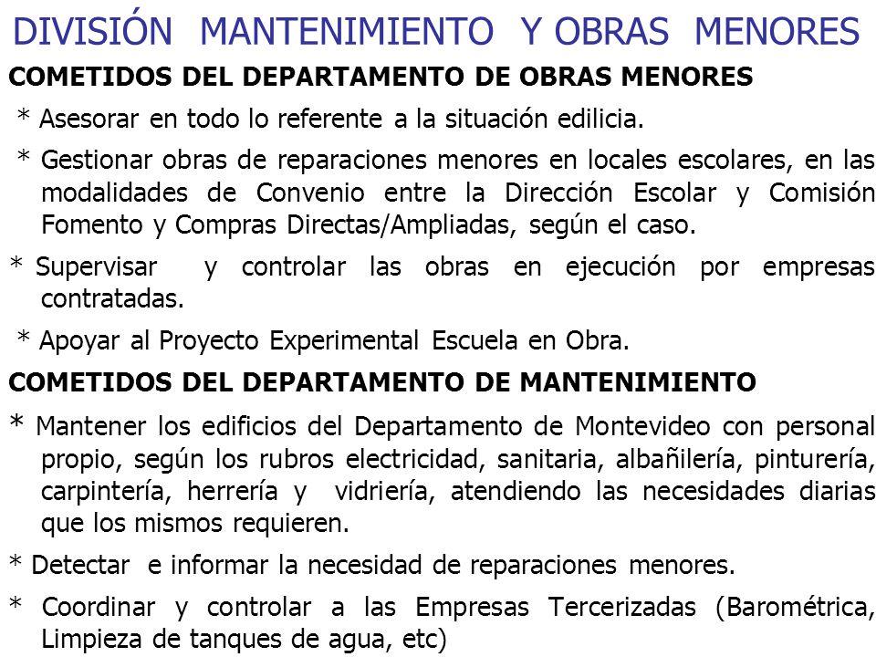 DIVISIÓN MANTENIMIENTO Y OBRAS MENORES