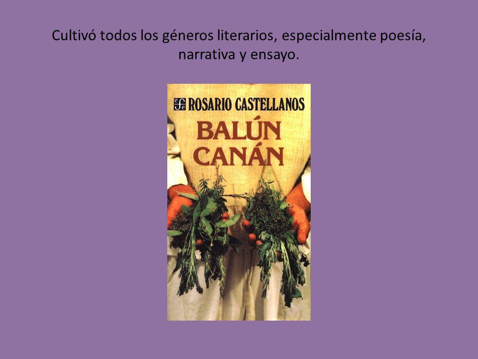 Cultivó todos los géneros literarios, especialmente poesía, narrativa y ensayo.