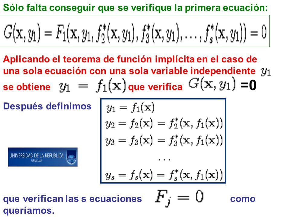 Sólo falta conseguir que se verifique la primera ecuación: