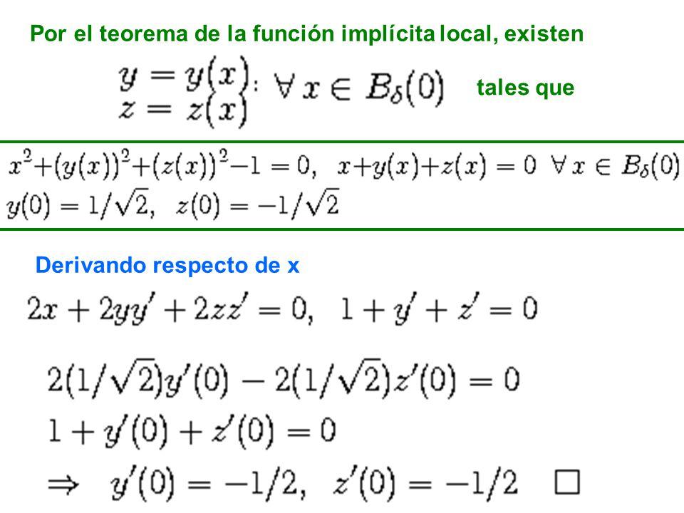 Por el teorema de la función implícita local, existen