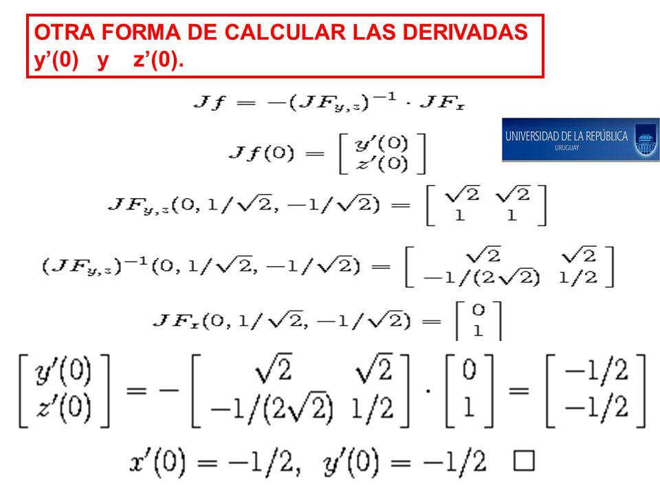OTRA FORMA DE CALCULAR LAS DERIVADAS