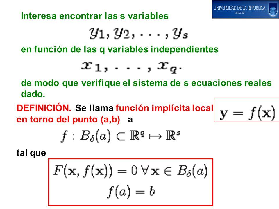 Interesa encontrar las s variables