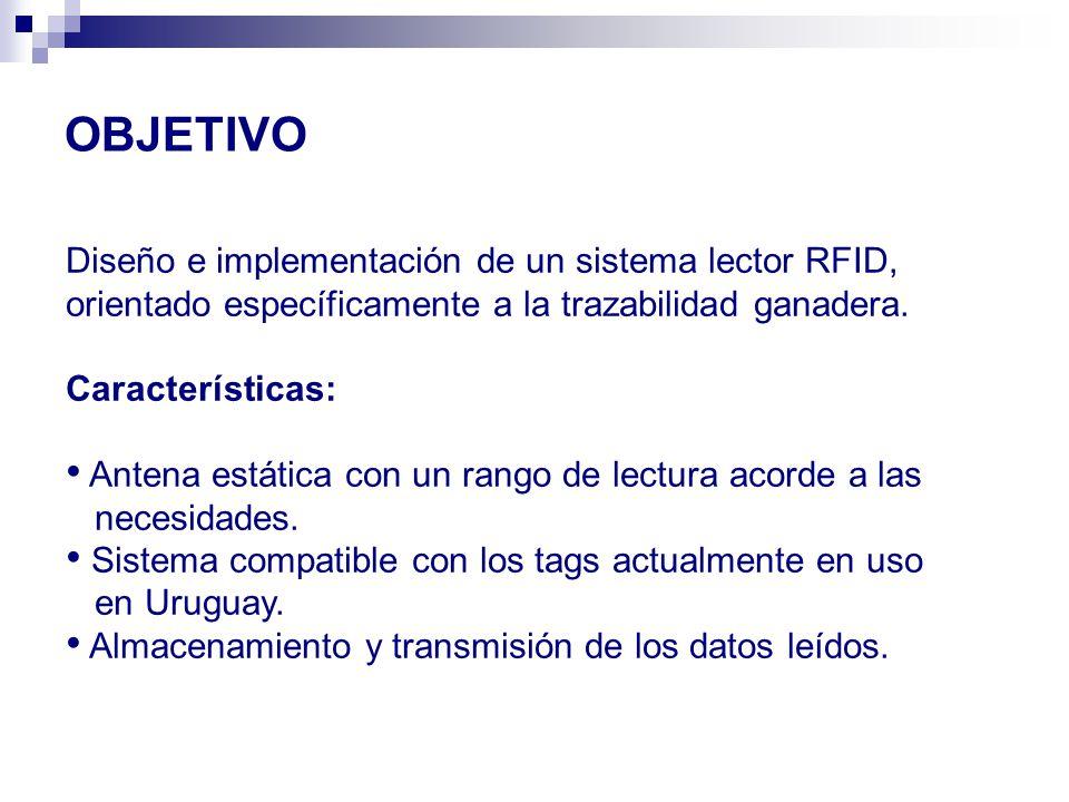 OBJETIVO Diseño e implementación de un sistema lector RFID, orientado específicamente a la trazabilidad ganadera.