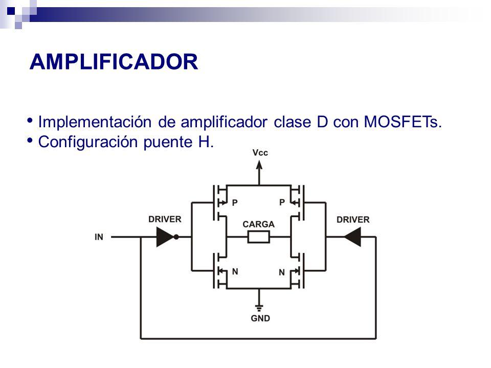 AMPLIFICADOR Implementación de amplificador clase D con MOSFETs.