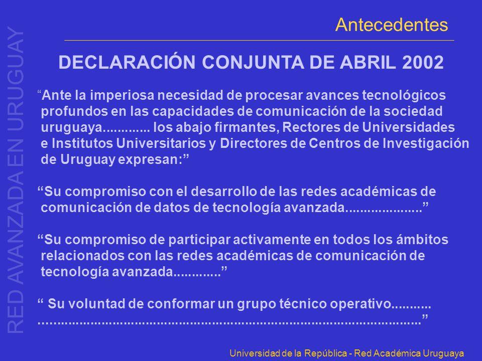 DECLARACIÓN CONJUNTA DE ABRIL 2002