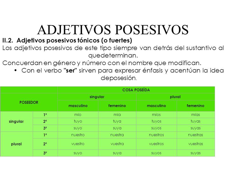 ADJETIVOS POSESIVOS II.2. Adjetivos posesivos tónicos (o fuertes)
