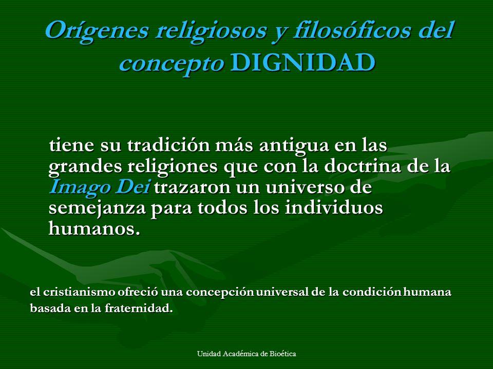Orígenes religiosos y filosóficos del concepto DIGNIDAD