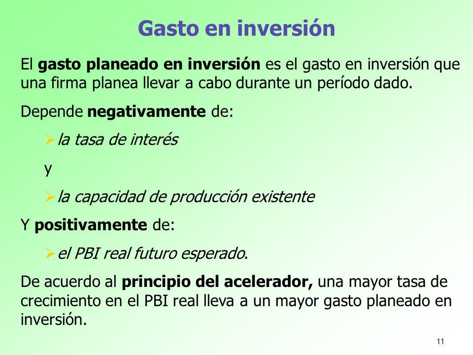 Gasto en inversión El gasto planeado en inversión es el gasto en inversión que una firma planea llevar a cabo durante un período dado.