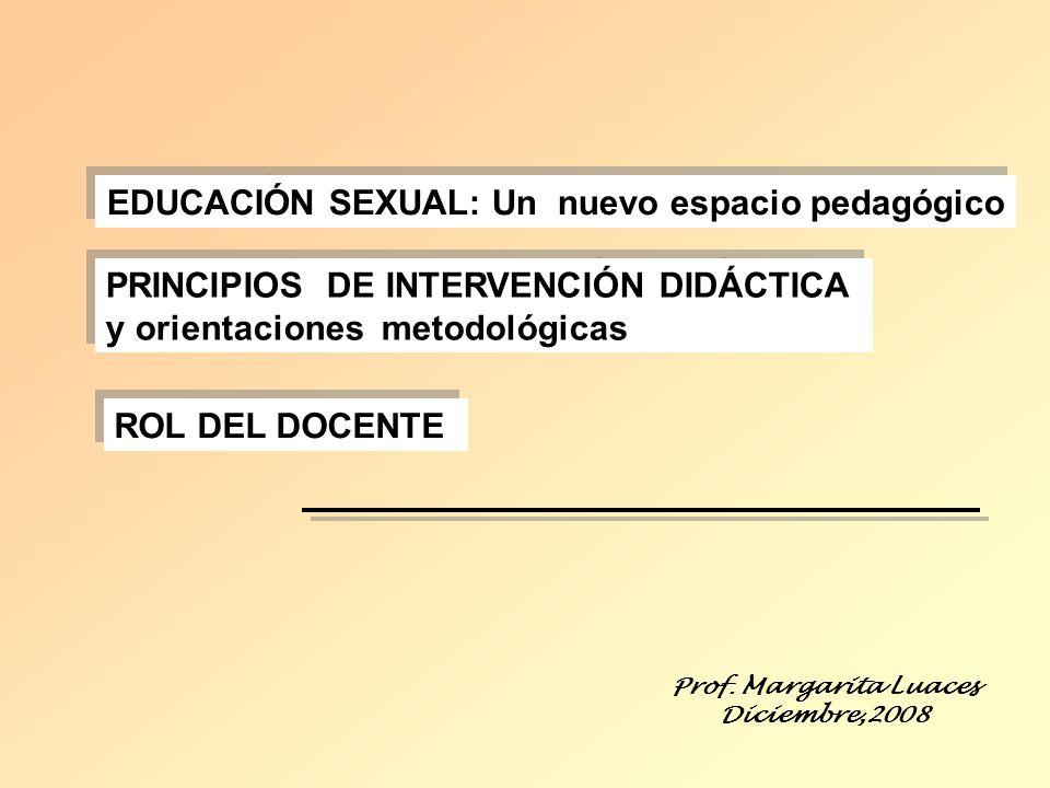 EDUCACIÓN SEXUAL: Un nuevo espacio pedagógico