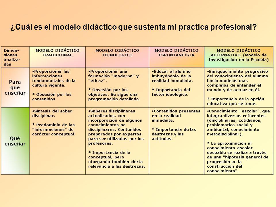 ¿Cuál es el modelo didáctico que sustenta mi practica profesional