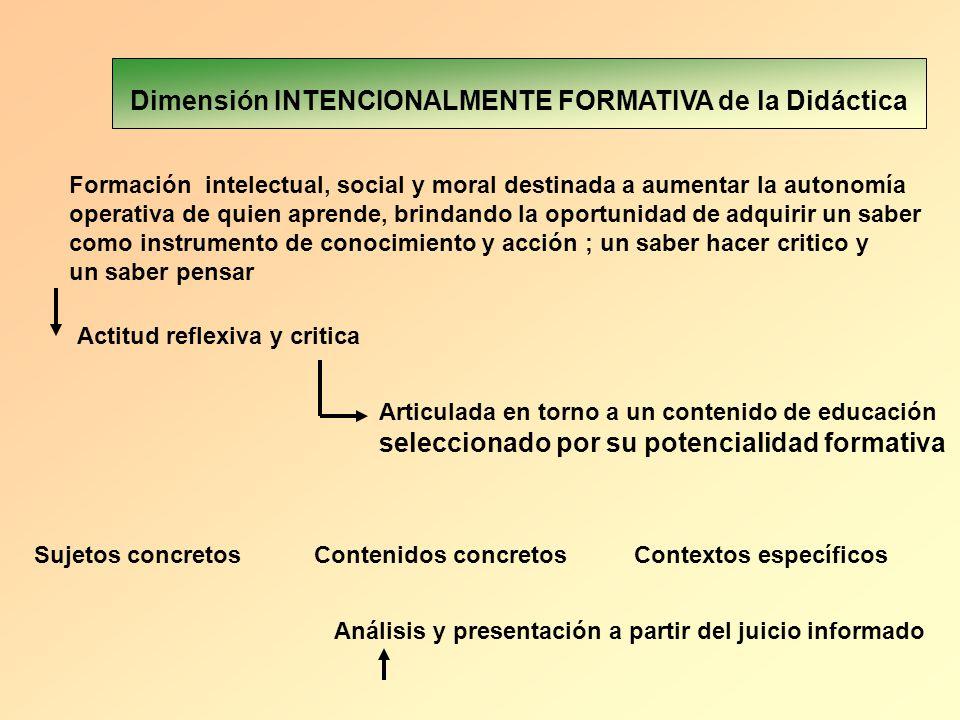 Dimensión INTENCIONALMENTE FORMATIVA de la Didáctica