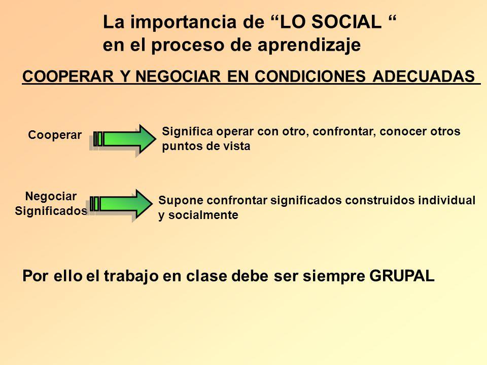 La importancia de LO SOCIAL en el proceso de aprendizaje