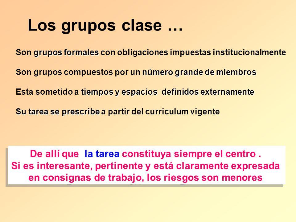 Los grupos clase … De allí que la tarea constituya siempre el centro .