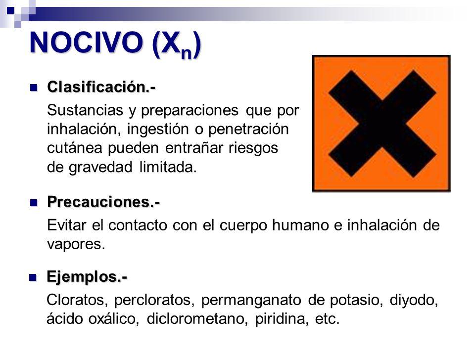 NOCIVO (Xn) Clasificación.-
