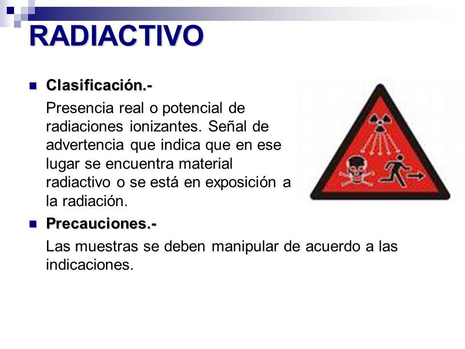 RADIACTIVO Clasificación.-