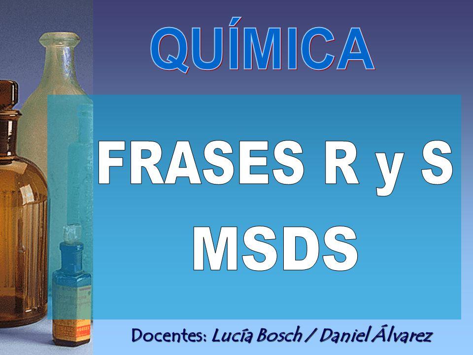 QUÍMICA FRASES R y S MSDS Docentes: Lucía Bosch / Daniel Álvarez