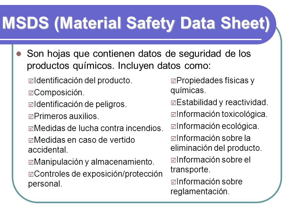 MSDS (Material Safety Data Sheet)‏