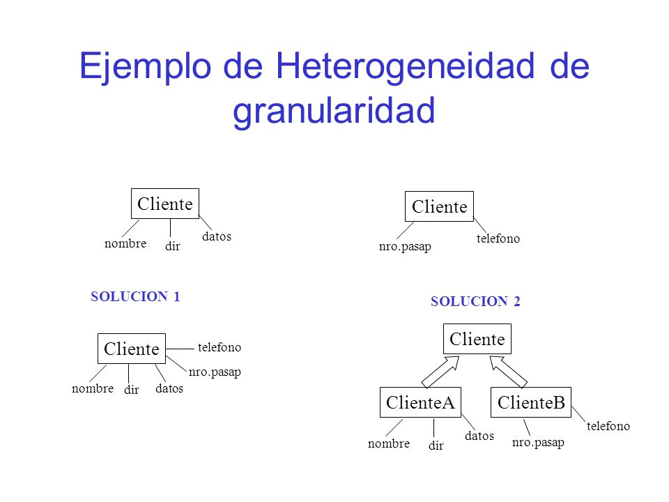 Ejemplo de Heterogeneidad de granularidad