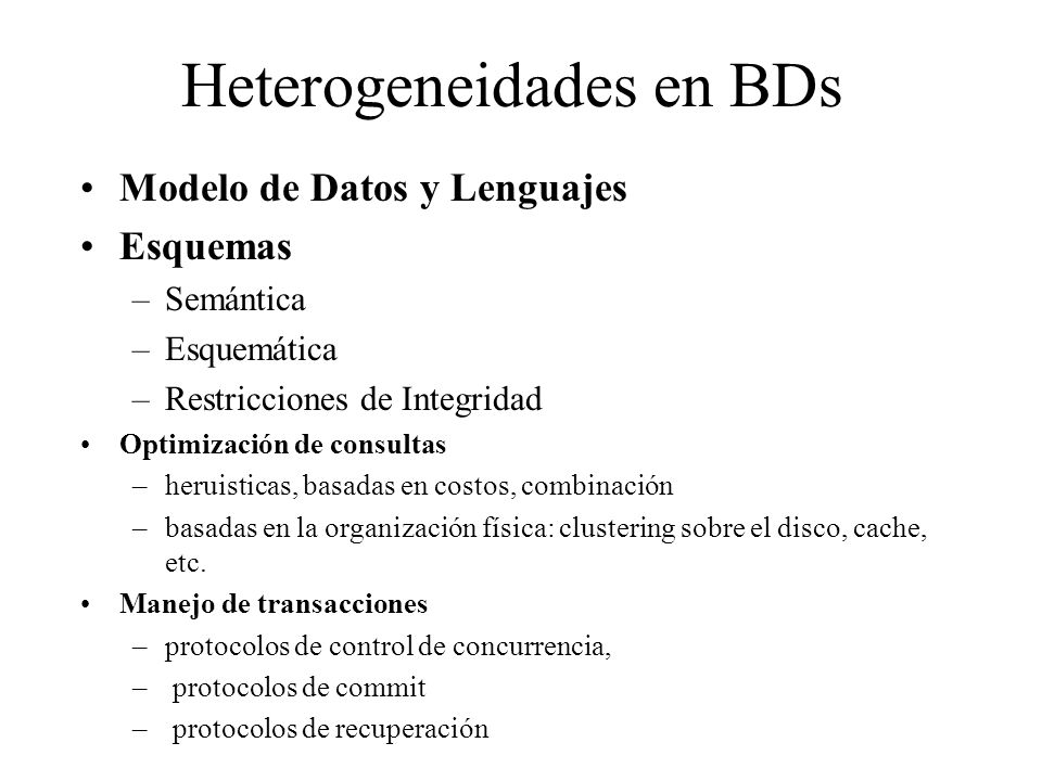 Heterogeneidades en BDs