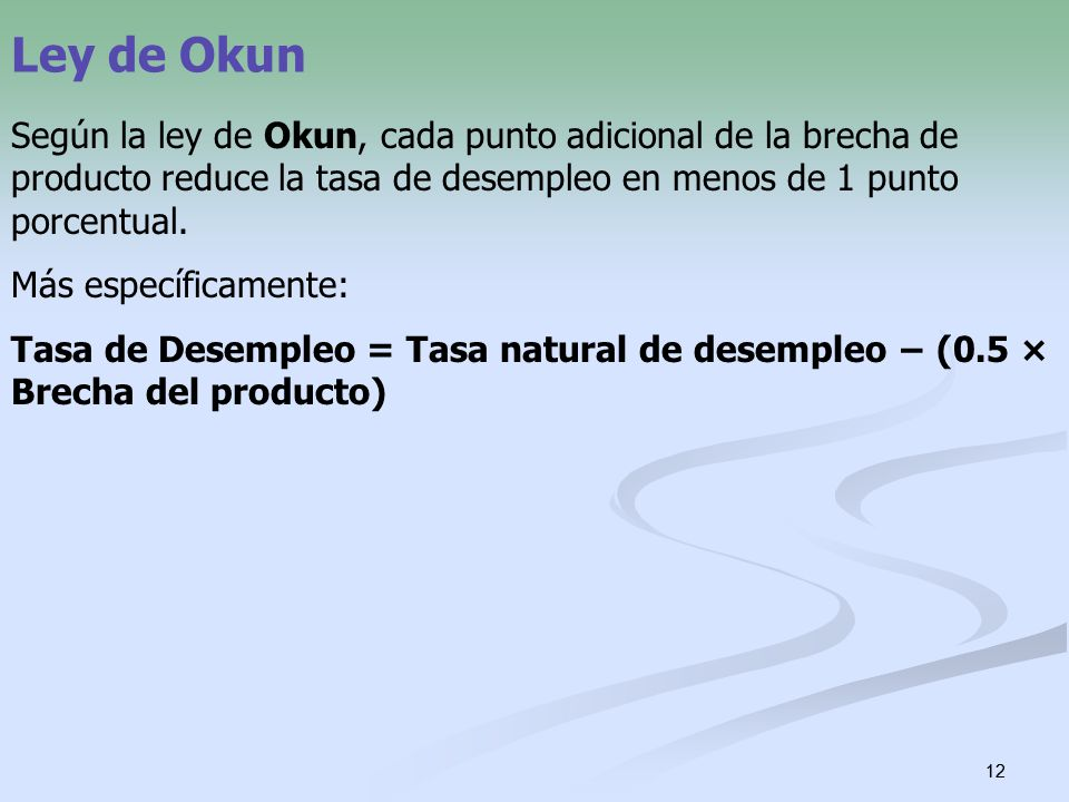 Ley de Okun Según la ley de Okun, cada punto adicional de la brecha de producto reduce la tasa de desempleo en menos de 1 punto porcentual.