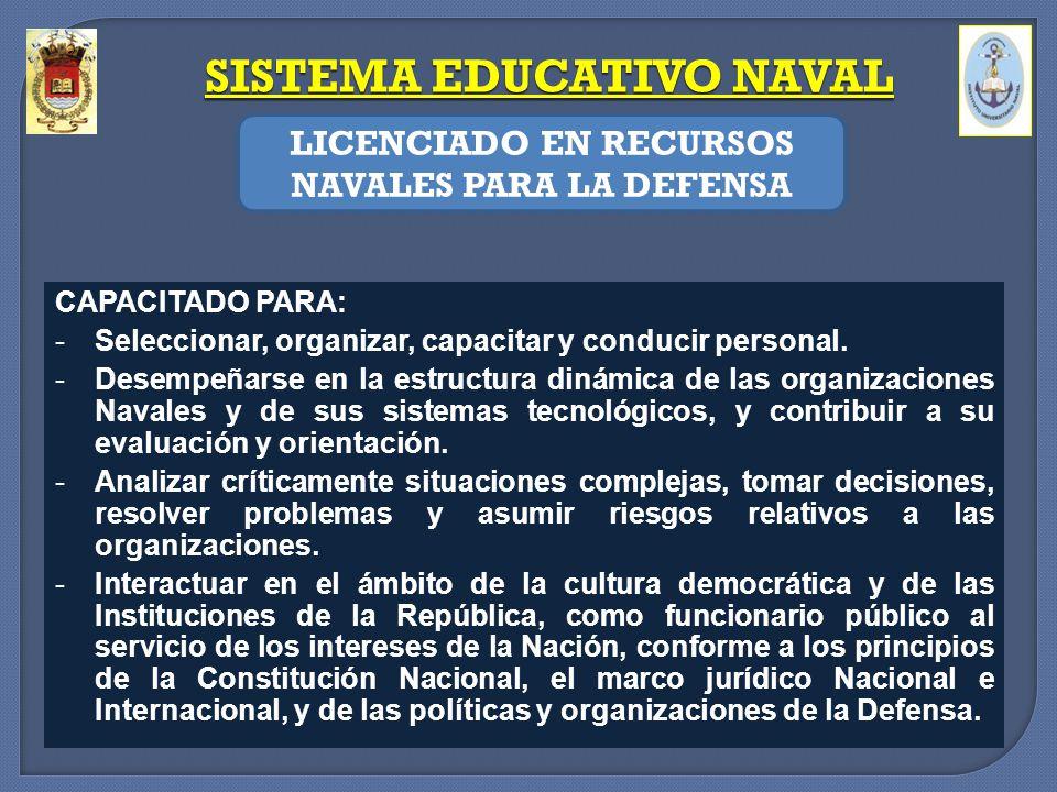 SISTEMA EDUCATIVO NAVAL LICENCIADO EN RECURSOS NAVALES PARA LA DEFENSA