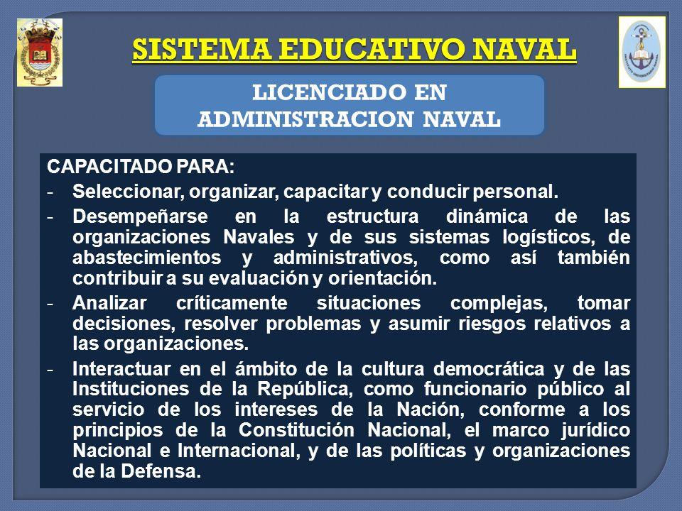 SISTEMA EDUCATIVO NAVAL LICENCIADO EN ADMINISTRACION NAVAL