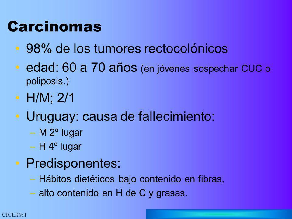 Carcinomas 98% de los tumores rectocolónicos