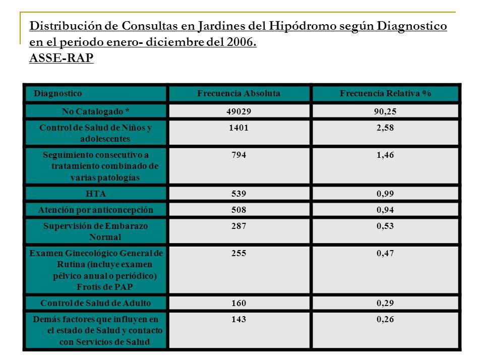 Distribución de Consultas en Jardines del Hipódromo según Diagnostico en el periodo enero- diciembre del 2006. ASSE-RAP