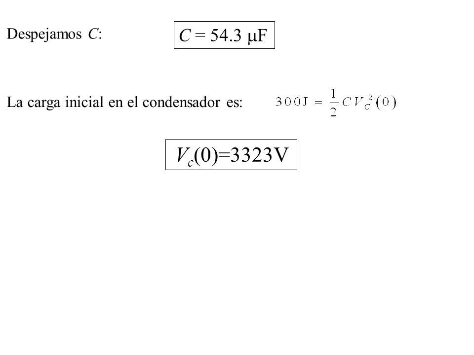 C = 54.3 mF Vc(0)=3323V Despejamos C: