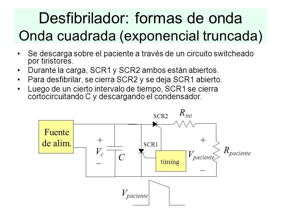 Desfibrilador: formas de onda Onda cuadrada (exponencial truncada)