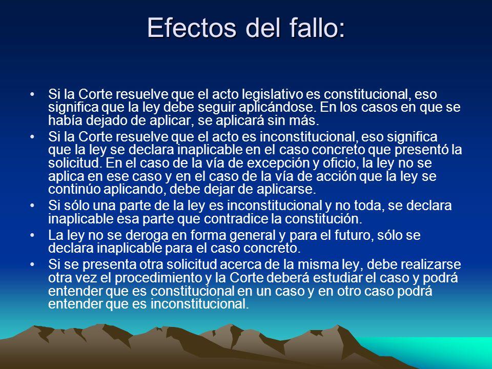 Efectos del fallo: