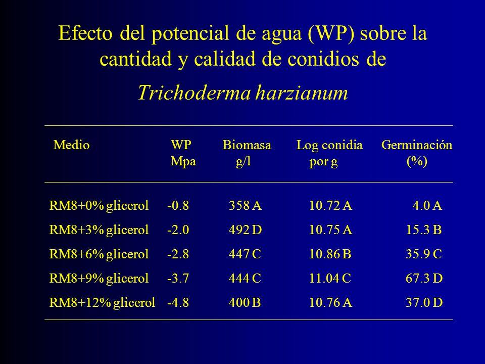 Efecto del potencial de agua (WP) sobre la cantidad y calidad de conidios de Trichoderma harzianum