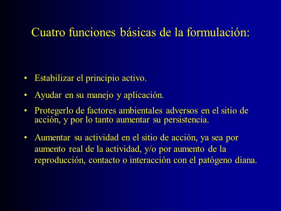 Cuatro funciones básicas de la formulación: