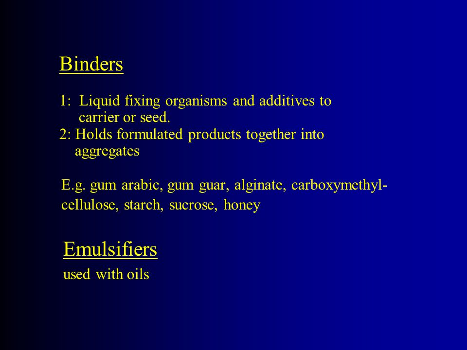 Binders 1: Liquid fixing organisms and additives to carrier or seed