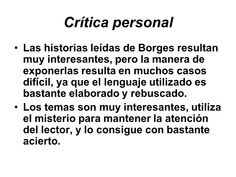 Crítica personal